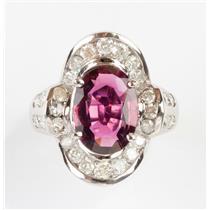 Stunning 14k White Gold Oval Cut Pink Tourmaline & Diamond Cocktail Ring 6.40ctw