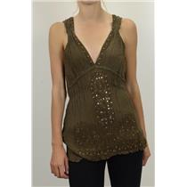S/M NWT Glam Souls Silk Crinkle Beaded/Sequined Blouse Brown Top Empire Waist