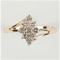 Ladies 14k Yellow & White Gold Round Cut Diamond Cocktail Ring .35ctw