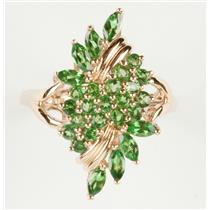 Ladies 14k Yellow Gold Marquise/Round Cut Tsavorite Garnet Cocktail Ring 1.75ctw