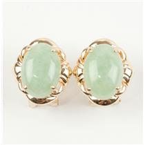 Ladies Unique 14k Yellow Gold Oval Cabochon Cut Jadeite Solitaire Earrings