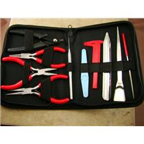 10 Pc Beading Tool Kit - Caliper Pliers Zipper Case & More - Gold Minerials Gems