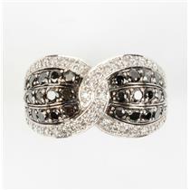 Ladies 14k White Gold Round Cut Diamond & Black Diamond Cocktail Ring 1.28ctw