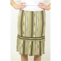 Size M BCBG Maxazria Green/Brown Stripe Jersey Skirt Tulle Eyelet Ribbon Trim