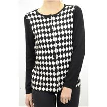 L Authentic NEW Pendleton Petites Black & White Argyle Diamond Checker Cardigan