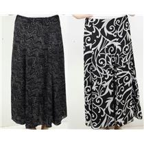 NWT Madison Hill Black White REVERSIBLE Printed A-Line Skirt w/Elastic Waist