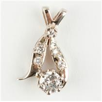 "Ladies 14k White Gold Round Cut ""F"" Diamond Pendant 0.34ctw"