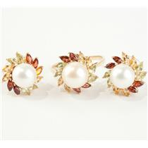 Ladies 14k Yellow Gold Natural Pearl & Gemstone Ring / Earring Set 2.7ctw