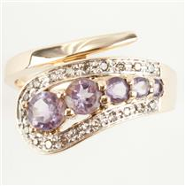 Ladies 14k Yellow Gold Round Cut Amethyst & Diamond Cocktail Ring .84ctw