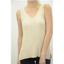 L NEW Di Vita Di Luxe Beige Cable Knit Sleeveless Sweater Tank Top Blouse Shell
