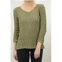 S NEW COZY Madison Hill Ladies Olive Green Cotton Cable Knit V Neck Sweater NICE