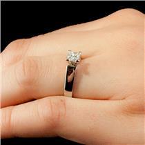 Ladies 14k White Gold & Platinum Diamond Solitaire Engagement Ring .54ct
