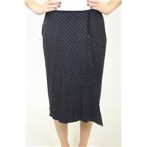 6 J. Jill Navy Blue Asymmetrical Chevron Pinstripe Wool Skirt Faux Wrap Style