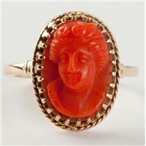 "Ladies Beautiful Vintage 1940's 14k Yellow Gold ""AAA"" Coral Cameo Ring Size 4.5"