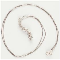 "Ladies 14k White Gold Princess Cut Diamond ""Journey"" Pendant W/ 18"" Chain .54ctw"
