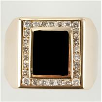 Men's 14k Yellow Gold Cushion Cut Onyx Solitaire Ring W/ Diamond Accents .78ctw