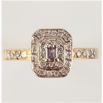 Ladies 18k Yellow Gold Baguette Cut Pink Diamond Cocktail Ring .74ctw