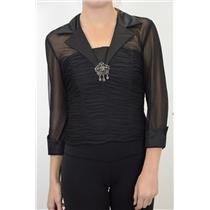 NWT KM Collection Sheer Black Ruched Waist Brooch Satin Lapel Formal Top/Blouse