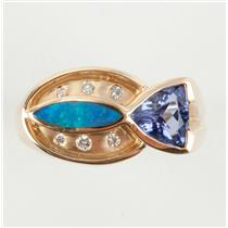 Unique 14k Yellow Gold Trillion Cut Tanzanite / Opal / Diamond Ring .90ctw
