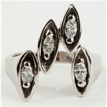 Ladies 14k White Gold Marquise Cut Diamond Custom Made Cocktail Ring .36ctw