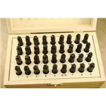 "3/16"" 36 A-Z Letter & Number Punch Stamp Set Hardned Steel Heavy Duty - Wood Box"