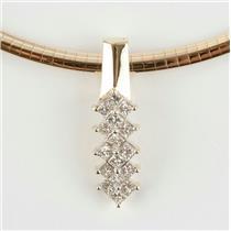 Stunning Ladies 18k Yellow Gold Princess Cut Diamond Omega Slide Pendant 2.0ctw
