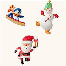 Hallmark Miniature Ornaments 2008 Santa's Merry Crew - Santas Set of 3 - #QP1141