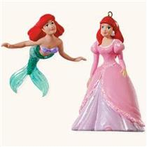 Hallmark Miniature Ornament 2008 Ariels Dream Little Mermaid - Set of 2 #QXM8131