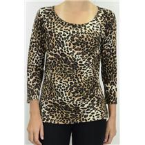NWT Ann Trinity Leopard Print Pullover Crew Neck Light Knit Sweater 3/4 Sleeve