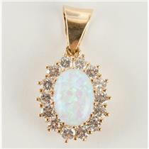 Ladies 14k Yellow Gold Oval Cut Opal & Cubic Zirconia Pendant 6.2ctw