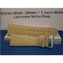 26mm Wide Bone Leather Strap.Genuine Leather.Good Quality Watchband