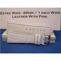 26mm Wide White Leather Strap.Genuine Leather.Good Quality Watchband