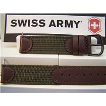 Swiss Army Watch Band Cavalry Man's 18mm Khaki Fabric Mesh and Brown Leather
