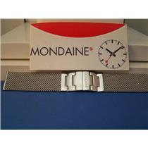 Mondaine Watch Bracelet 18mm All Stainless Steel. Mesh w/ Deployment buckle