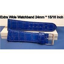 24mm Wide blue Leather Strap.Genuine Leather.Good Quality Watchband