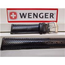 Wenger Watch Band 91068 Black Perforated Leather 20mm.  Logo Strap/buckle
