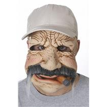 Between Jobs Plumber Contractor Creepy Old Man Mask with Attached Baseball Hat