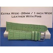 26mm Wide LtGrn Leathr Strap.Genuine Leather.Good Quality Watchband