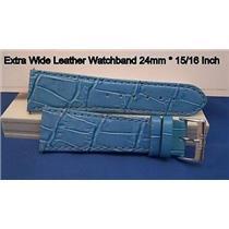 24mm Wide Lt blue Leathr Strap.Genuine Leather.Good Quality Watchband