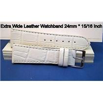 24mm Wide white Leather Strap.Genuine Leather.Good Quality Watchband