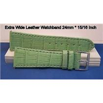 24mm Wide Lt Green Leathr Strap.Genuine Leather.Good Quality Watchband