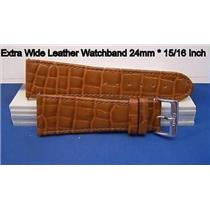 24mm Wide Tan Leather Strap.Genuine Leather.Good Quality Watchband