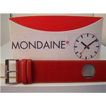 Mondaine Watch Band One Piece 24mm Wide Red Leather Loop Thru Strap w/Logo bckle