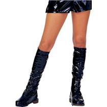 Black Knee High Vinyl Boot Tops Covers Costume Accessory