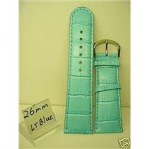 26mm light blue strap.Genuine Leather.Good Quality Watchband