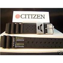 Citizen Watch Band Aqualand 19mm Diver Style Black Rub Strap w/Steel Logo Keeper