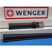 Wenger Watch Band LONG black leather ladies 14mm Padded/Outline Stitch.