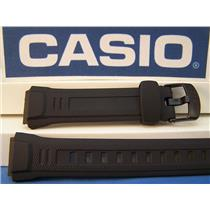 Casio Watch Band WV-58. Black Resin Wave Ceptor Strap