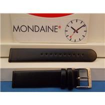 Mondaine Swiss Railways Watch Band FE3118.22Q 18mm Black Leather Strap Red Back