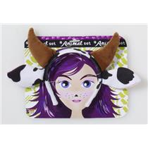 Black and White Cow Ears and Brown Horns Headband Costume Accessory